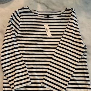 navy & white striped j crew 3/4 length sleeves top